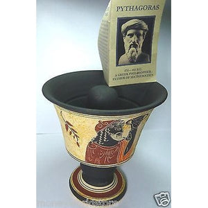 HANDMADE CERAMIC*PYTHAGORAS FAIR CUP* MUSEUM MODEL,NEW,MUG,VALUABLE GIFT,GREECE-moneyworld-store