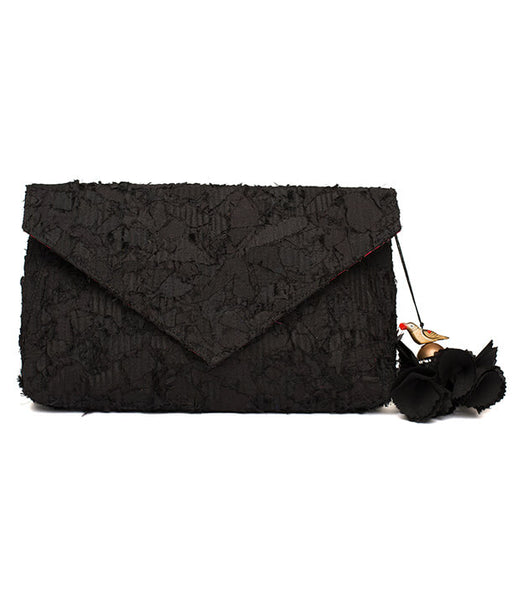 Black Katran Envelope Clutch