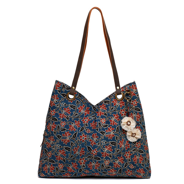 Neel Ajrak Cotton Shoulder Bag Indigo