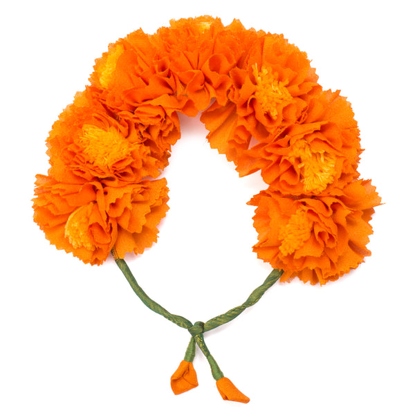 Orange Genda Phool Gajra Hair Accessory