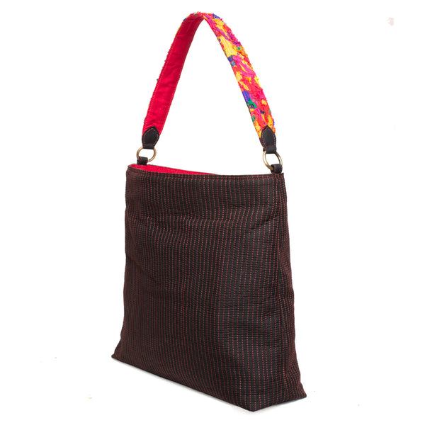 Black Quilted Pooja Bag with Katran Strap