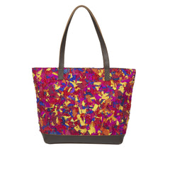 Multicoloured Upcycled Katran Shopping Bag with Genuine Leather Trims