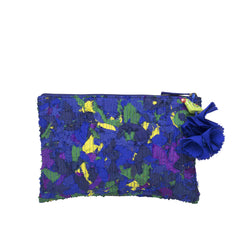 Blue Upcycled Katran Pouch Small