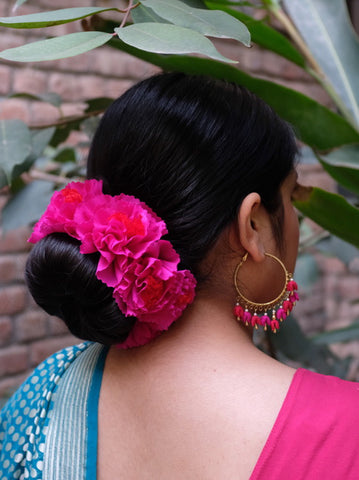 Fuschia Genda Phool Gajra fixed Hair Ornament