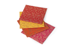 Multicoloured Brocade Silk Coasters - set of four