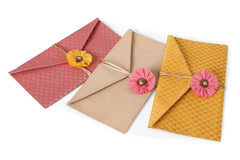 Gold Yellow Peach Brocade Silk Shagun Gift envelops - set of three