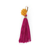 Yellow  Silk Mogra earrings with Fuschia tassels