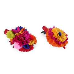 Multi Mix Silk Hair Clip - Set of 2