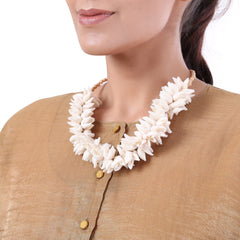 Off White Silk Mogra Mala Long