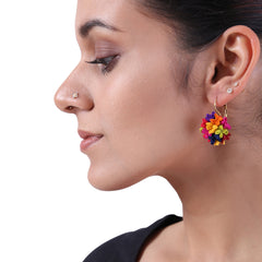 Multicolour silk Mogra earrings