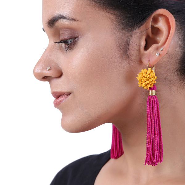 Yellow Mogra earrings with Fuschia tassels