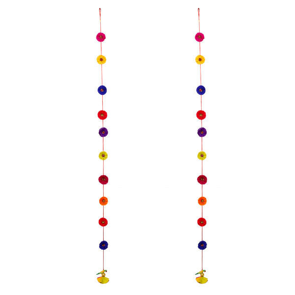 Multi Silk Hanging Latkan - set of 2