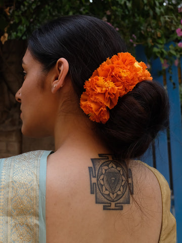 Orange Genda Phool Gajra Hair Ornament