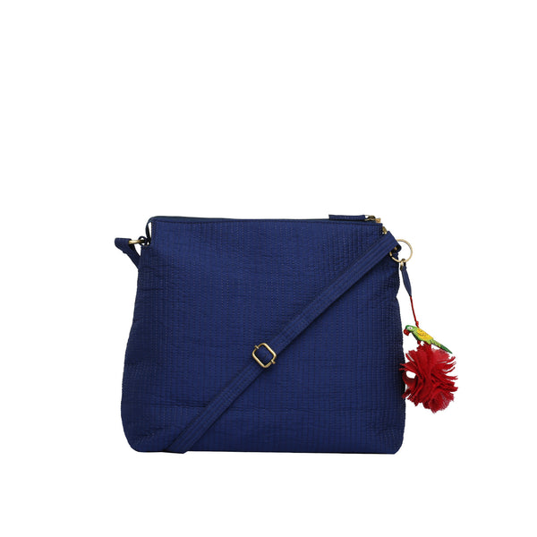 Indigo Quilted Silk Suvi Sling Bag