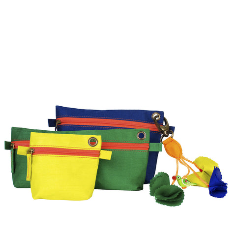 Chatak pouch set - Blue, green, lime
