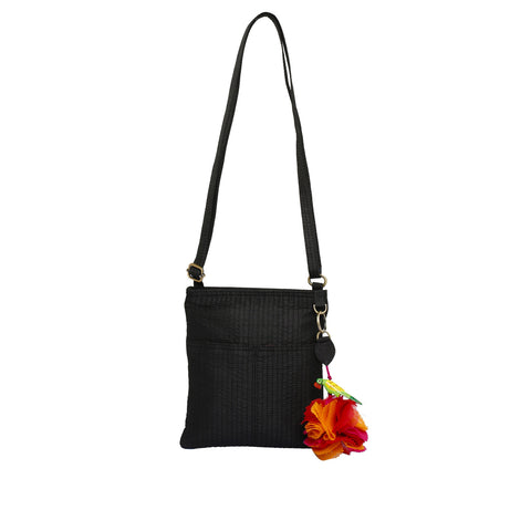 Black Quilted Silk Mini Nomad Sling Bag