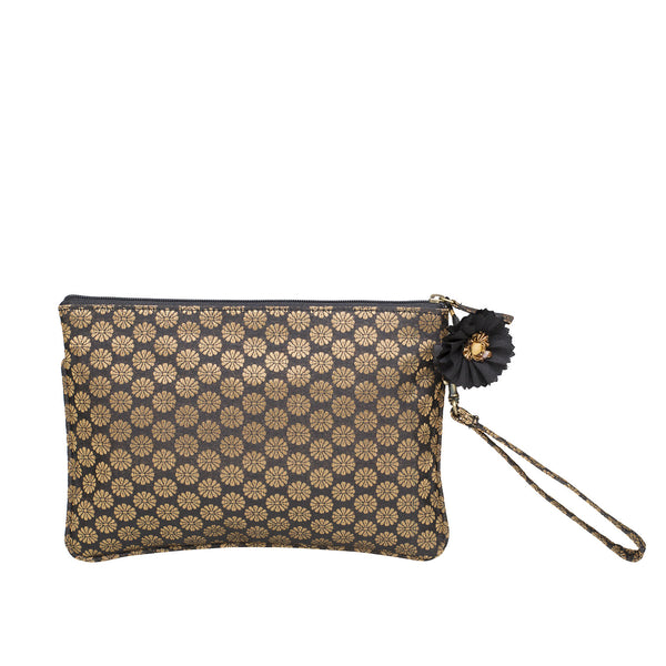 Black Buti Brocade Silk Wristlet