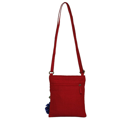 Red Quilted Silk Mini Nomad Sling Bag