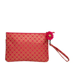 Red Buti Brocade Silk Wristlet