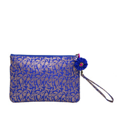 Blue Bel Brocade Silk Wristlet
