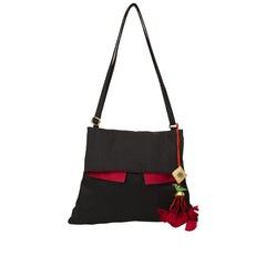 Black Red Silk Kutch Foldover Sling