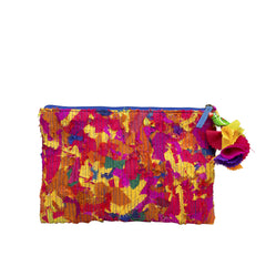 Multicoloured Upcycled Katran Pouch Small