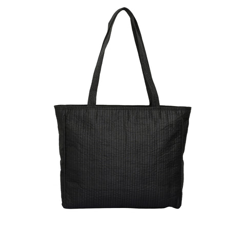 Black Quilted Silk Metro Shoulder Bag