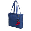Indigo Quilted Silk Metro Shoulder Bag with Flower Charm