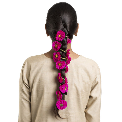 Fuschia Silk Gajra Hair Accessory Long