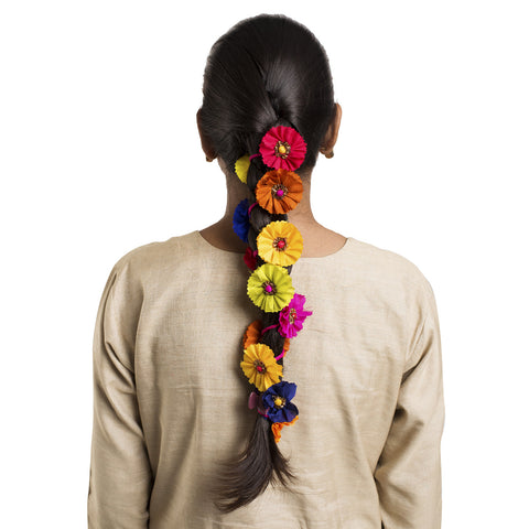 Multicoloured Gajra Hair Ornament Long
