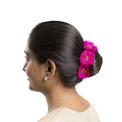 Fuschia Silk Gajra Hair Accessory Short