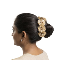 Gold Silk Gajra Hair Accessory Short