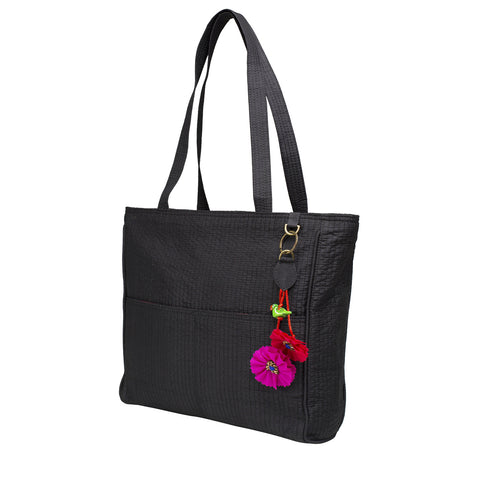 Black Quilted Silk Metro Shoulder Bag with Flower Charm