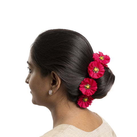 Red Silk Gajra Hair Accessory Short