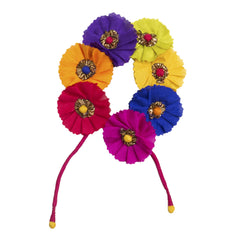 Multicoloured Gajra Hair Accessory Short