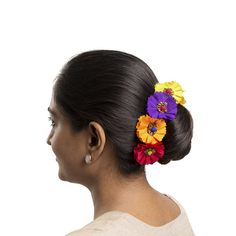 Multicoloured Gajra Hair ornament Short