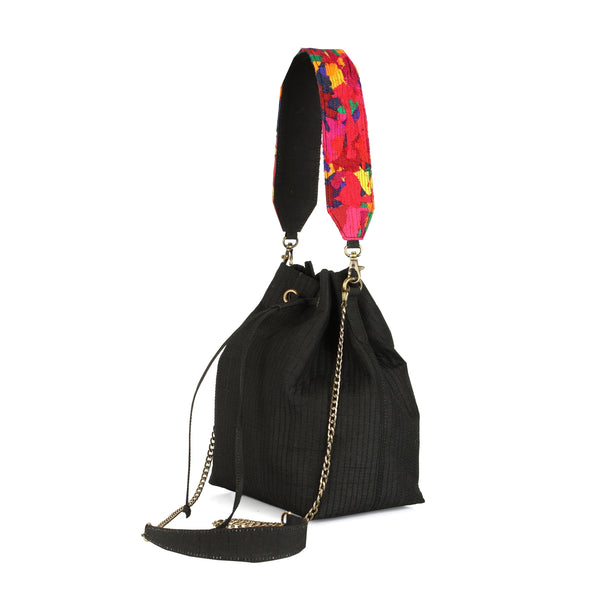 Black Bucket Bag with Katran Strap