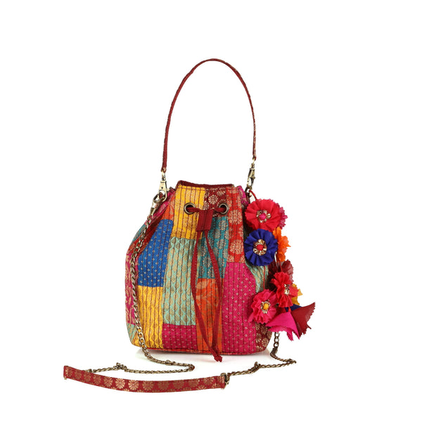 Multi Brocade Bucket Potli Bag