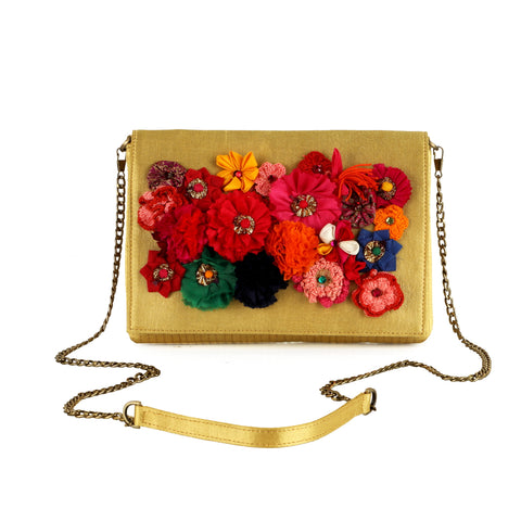 Gold Mashru Silk Phulwari clutch