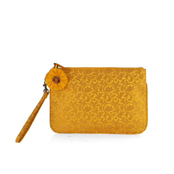 Yellow Bel Brocade Wristlet