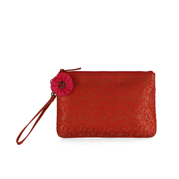 Red Bel Brocade Wristlet