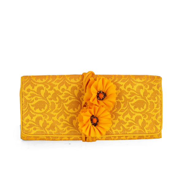 Yellow Bel Brocade Foldover Pouch