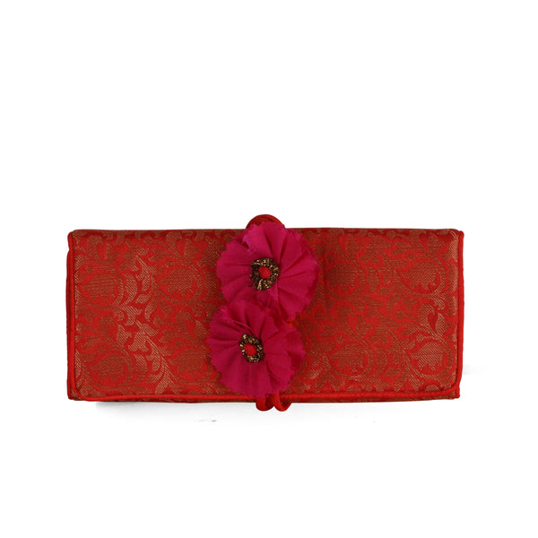 Red Bel Brocade Foldover Pouch