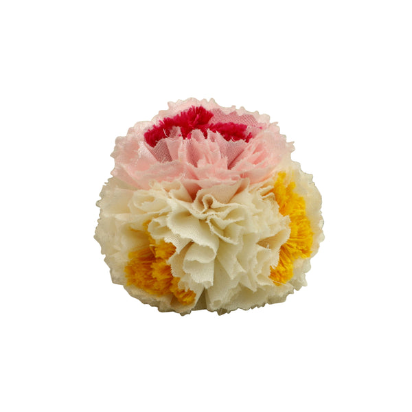 White Pink Carnation Textile Brooch