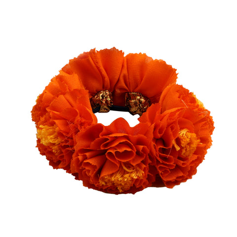 Orange Genda Phool Rubberband Gajra Hair Accessory