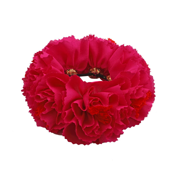 Fuschia Genda Phool Rubberband Gajra Hair Accessory