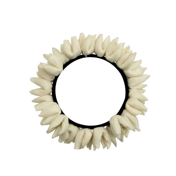 Off White Chanderi Silk Mogra Rubberband Gajra Hair Accessory