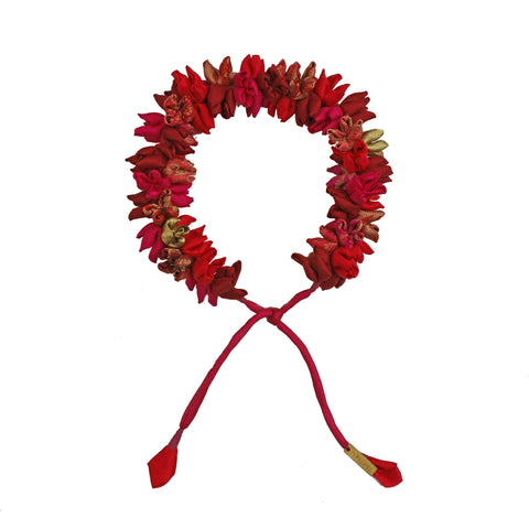 Red Multi Mix Mogra Gajra Hair Accessory