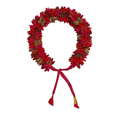 Red Multi Mix Mogra Gajra Hair Accessory Thick