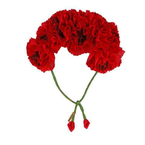 Red Genda Phool Gajra Hair Ornament